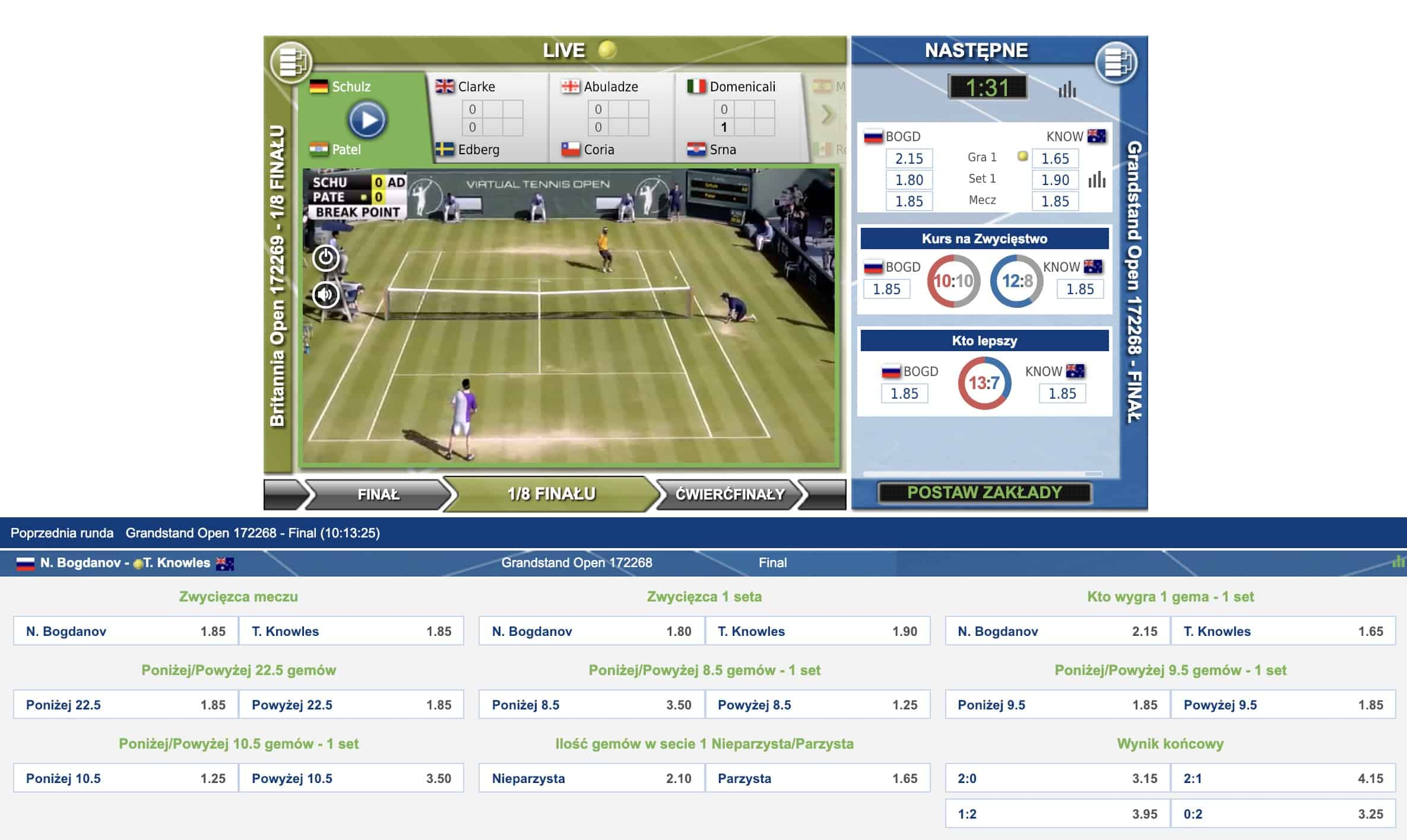 Wirtualne mecze tenisa. Jak obstawiać?