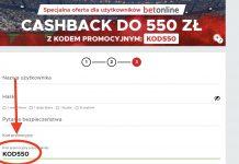 550 złotych z kodem promocyjnym Betclic. Najwyższy cashback od bukmachera w Polsce. Do wpisania: KOD550